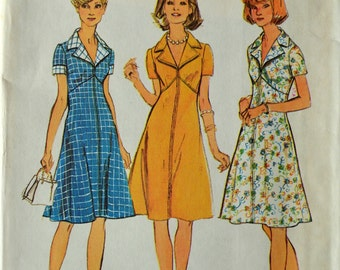 Uncut 1970s Simplicity Vintage Sewing Pattern 6275, Size 16; Misses' and Women's Dress