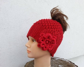 Messy bun beanie, Rose Freeform crochet,  Winter messy bun hat,  Crochet Beanie, Ponytail beanie hat,  Women hat, Floral hat,  Ready to ship