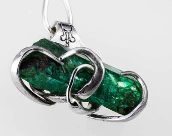 Emerald Necklace Gift, Emerald Jewelry Gift, Gemstone Necklace For Her, May Birthstone Necklace, May Birthstone Jewelry Silver