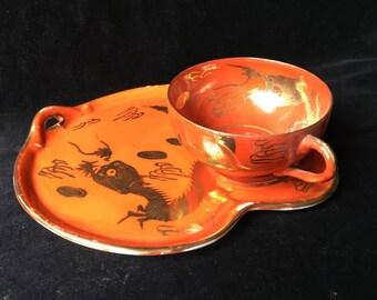 Vintage Brilliant Orange and Gold Dragon Snack Set