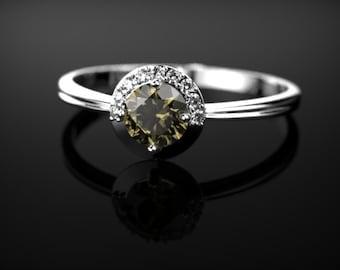 Smoky Quartz Sterling Silver Engagement Ring Brown Gemstone Ring Smoky Quartz Engagement Ring Brown Gemstone Engagement Ring