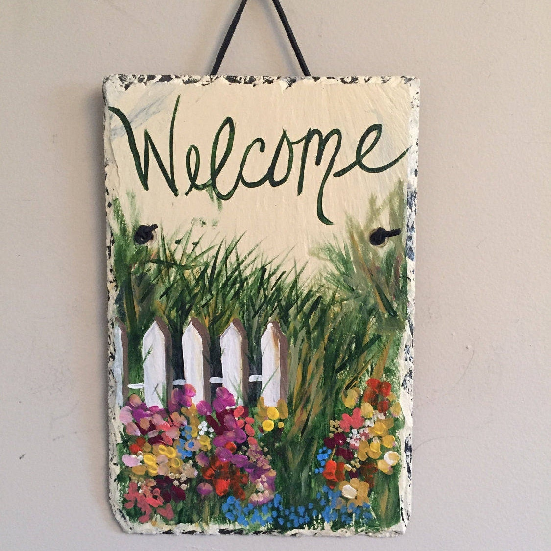 spring garden painted slate welcome sign, welcome door hanging