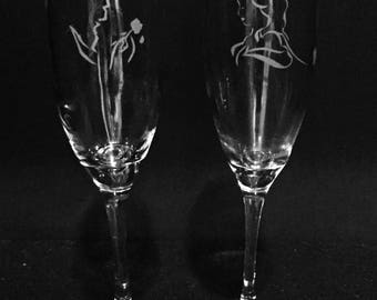 Beauty and Beast wine glass set ~ Belle wine glass ~ Etched champagne flute ~ Princess gift ~ Fairy tale gift ~ Princess wine glass