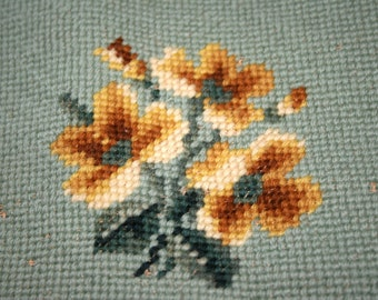 """Unfinished Tapestry//7"""" x 7"""" Piece of Tapestry//Yarn Included//Vintage Tapestry"""