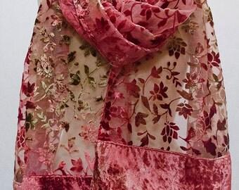 Jasmine Floral Burnout Velvet Stole Wrap Scarf Shawl Table Runner Border Rose Pink Olive Green