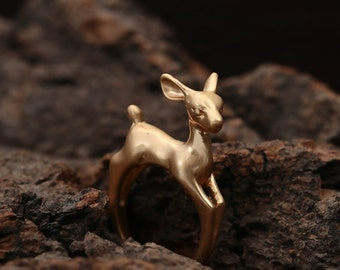 Cute Bambi Deer 18kt Gold Plated Adjustable Ring