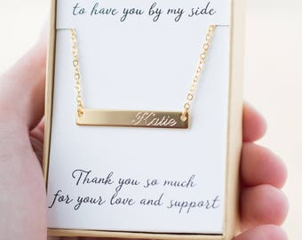 Bridesmaid Gift - Bridesmaid Necklace - Gold Bar Necklace - Personalized Bridesmaids Gifts - Letter Necklace - Name Necklace