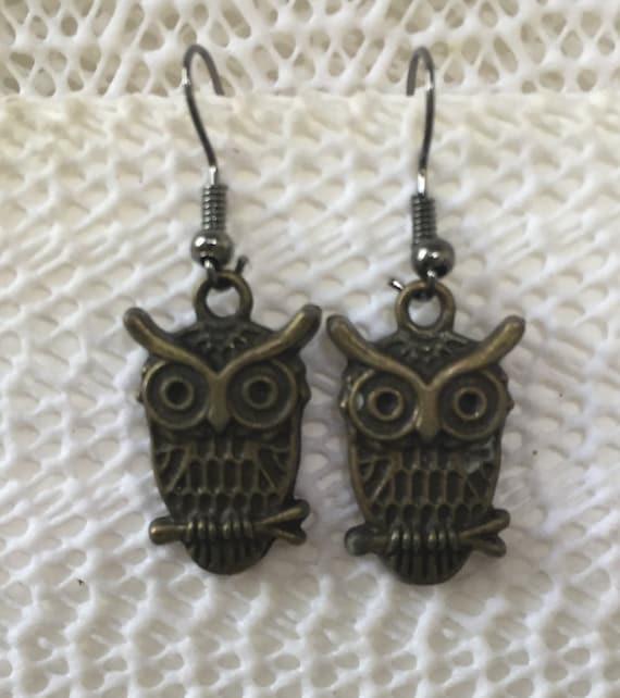 Owl Earrings, brass finish