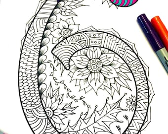 """Number 6 Zentangle - Inspired by the font """"Harrington"""""""