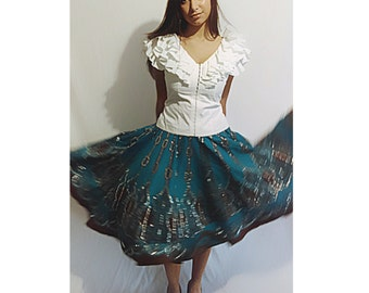 Sequined turquoise and Brown skirt Festival skirt Size 6 By WDNY