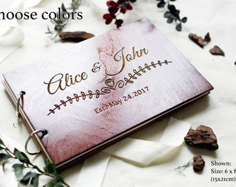 Personalized Guest Book Hardcover Wedding GuestBook Custom Guest Book Wood Guest Book Anniversary guest book Rustic Wedding Guest Book ideas