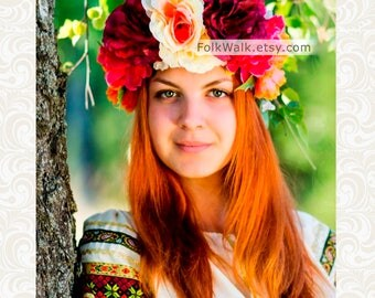 Kokoshnik flower, wreath of flowers SUMMER, wreath of AUTUM,festive clothes, headpiece, floral, headdress bloom, Huge flower