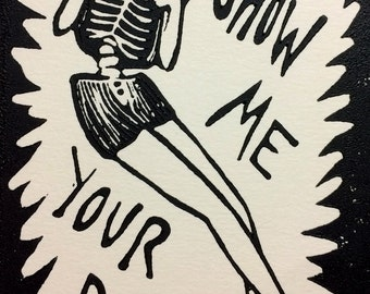 Show Me Your Ribs Relief Print