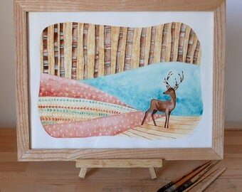 "Table watercolor - ""deer"" - framed original Illustration"