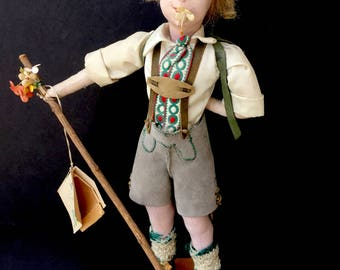Adorable Highly Detailed German Cloth Doll-Mountain Seppl Boy