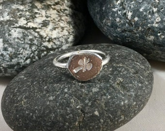sterling silver ring - stamped nugget ring - signet ring - recycled silver ring - nugget ring