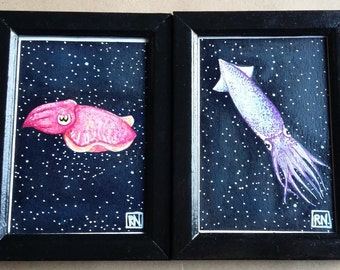 Cuttlefish and Squid Watercolour Paintings - Framed Cephalopod Artwork - Nautical Art