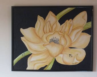 Water lily, painting, geramt, acrylic, structure, mural, art,