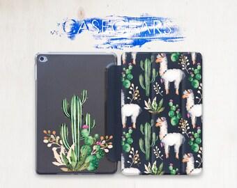 Lama iPad Pro 9.7 iPad Mini 4 case iPad Air 2 case iPad Mini 3 Flowers Air iPad 2 iPad Pro 9.7 2017 cover Clear iPad Case Cactus CGSC026