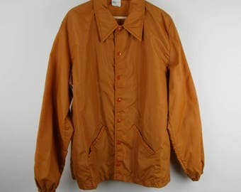 Vintage 70s Texas Windbreaker Jacket / Longhorns Burnt Orange Athletic University Sports Fan / Large L