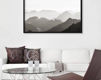 Nordic Mountain Print, Scandinavian Mountain Print, Landscape Photography, Nature Photography, Serenity Solitude