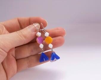 SALE Dangle hook earrings  / Dangle hook blue earrings / Dangle orange glass bead earrings / Dangle multicolor earrings / Double side