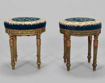 Pair of French Round Stools with Blue Needlework Upholstery [7122]