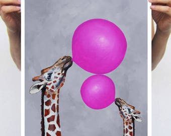 Fantasy Giraffe Painting, Giraffe print from my original painting, giraffe decor, Giraffes with bubblegum,original creation by Coco de Paris