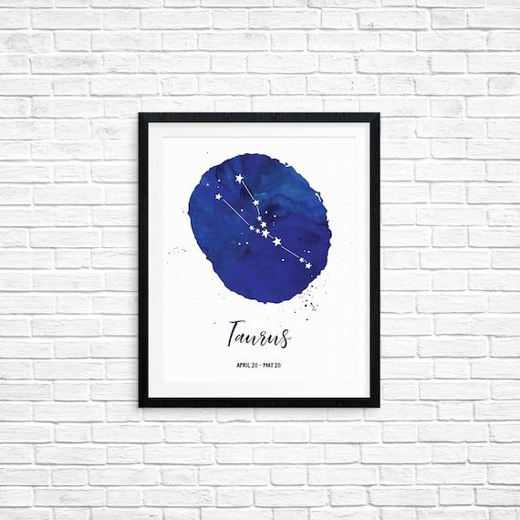 Printable Art, Taurus, April 20 - May 20, Constellation, Zodiac Symbol Art, Art Printable, Home Decor, Digital Download Print