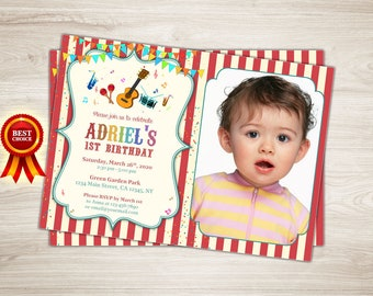 Music Birthday Invitation. Music Party Photo Invitation. 1st 2nd 3rd Birthday Invitation. Instruments Printable Invite Red Boy or Girl