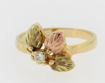 Vintage Gold Leaf And Diamond Ring- 10k Yellow Gold