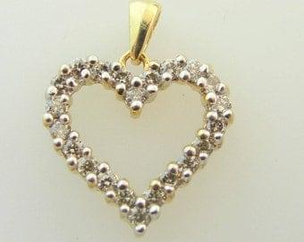 Open Heart Diamond Pendant- 10k Yellow Gold