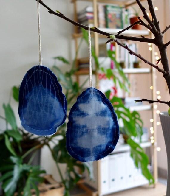Shibori-Osteranhänger Set 8 Stück in blau