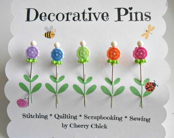 Decorative Sewing Pins - Fancy Pins - Flower Pins - Pin Toppers - Scrapbooking Pins - Bulletin Board Pin - Quilting Pins - Embellishment Pin