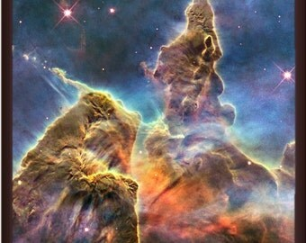 Poster of the Mystic Mountain an Area of the Carina Nebula. Captured by the Hubble Space Telescope - Portrait Version of This Lovely Print
