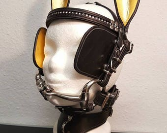 Pony bridle - Ponygirl - head harness, harness - head harness - head gear - cosplay - Raven leather