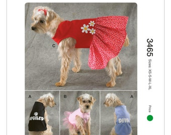 """Sewing Pattern for Dog Dress and Dog Shirt,  Kwik Sew # 3465, Pattern for Dog Clothes, """"Spoiled"""", """"Diva"""", Dog Tulle Dress"""