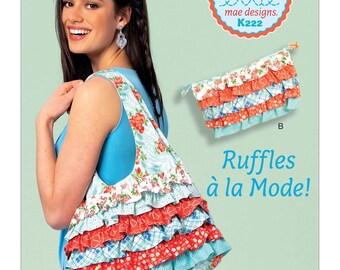Sewing Pattern for Shoulder Bag and Cosmetic Pouch with Contrast Ruffles, Kwik Sew Pattern 0222, Womens Ruffled Purse, Clutch Bag, Matching