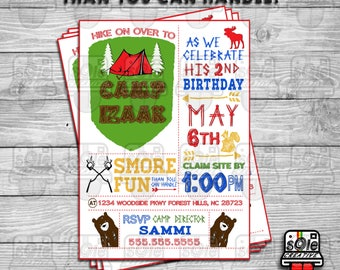 S'MORE Birthday Fun Than You Can Handle - CAMPING Birthday Invitations!