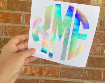 Free sh | Holograpic Monogram Decal| Oil Spill Monogram Decal