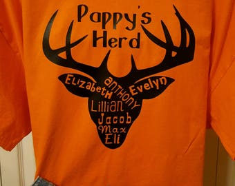 Personalized Father's Day Shirt, Gifts for Men, Deer Herd, Pappy, Grandpa