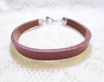 Brown Leather girl bracelet, Children bracelet, Girl bracelet