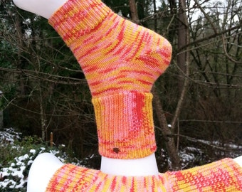 Knitted Yoga socks with heel. Pilates socks. Orange, Pink, Yellow, Salmon socks. Toeless socks. Pedicure Socks. Leg warmers. Gift for her