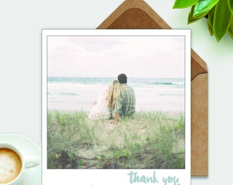 Beach Wedding Polaroid Thank You Card Personalized Photo Postcard by The Tiny Typewriter