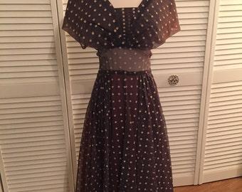 1950s brown dot dress, fading