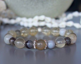 Agate Citrine Sterling Silver Bracelet, November Birthstone Bracelet, Agate Bracelet, Silver bracelet, Citrine bracelet, Women Jewelry, Gift