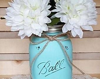 Rustic  Decor - Painted Mason Jars -  Mason Jar Sets - Shabby Chic - Country   - Flower Vase - Wedding - Shower- Mason Jar Qt Flower Vase
