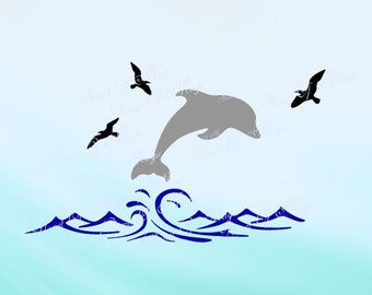 Dolphin SVG, Waves Svg, Animal Svg, Wall Design Svg, Sea Life Cut File, Dolphin DXF, Birds Svg, Dolphin Waves Silhouette, Digital File
