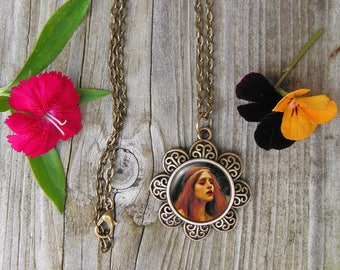 The Lady of Shalott Painting Necklace,  John Waterhouse Painting Glass Dome Pendant Necklace