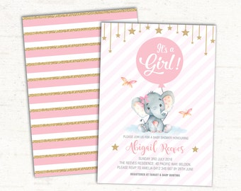 Girl Elephant Baby Shower Invitation. Pink and Gold Party Invite. First Birthday Party. Twinkle Little Star. Glitter. Little Peanut. EL-B5